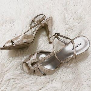 Alfani T Strap Champagne Sparkle Heels